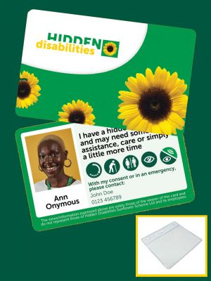 Image of standard customised Sunflower card on yellow background