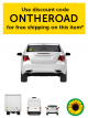 Image of the back of a white car with Sunflower sticker/magnet on the back on the passenger side. Use discount code ONTHEROAD to ship this item for free.