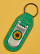 Image of front of green leather keyring.