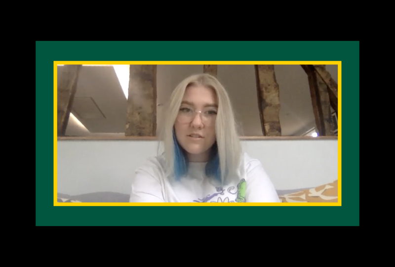 An image of Maddie White captured as she conducts her zoom interview