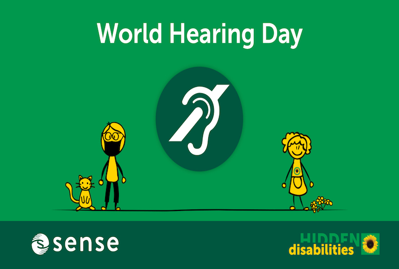 World Hearing Day animation still with the hidden disabilities and Sense logos
