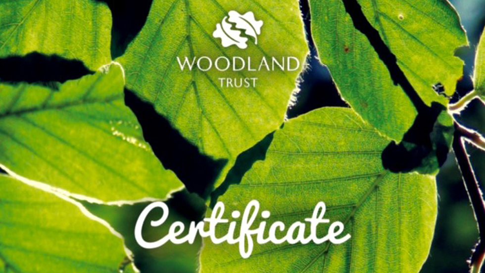 Certificate with green leaves and Woodland Trust logo