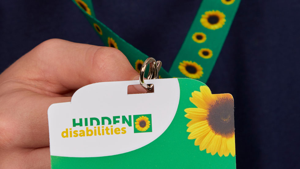Image of sunflower lanyard and card