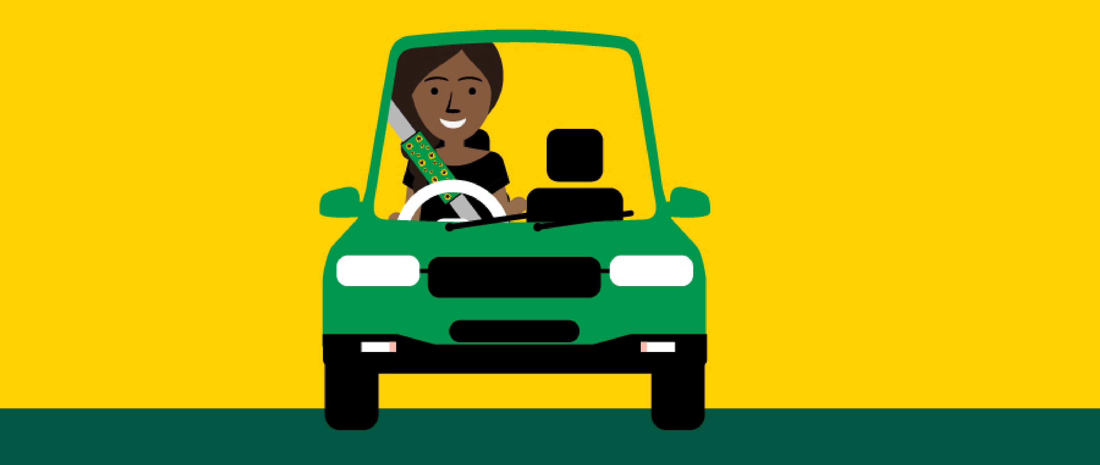 Illustrations of woman icon car wearing a Sunflower seatbelt