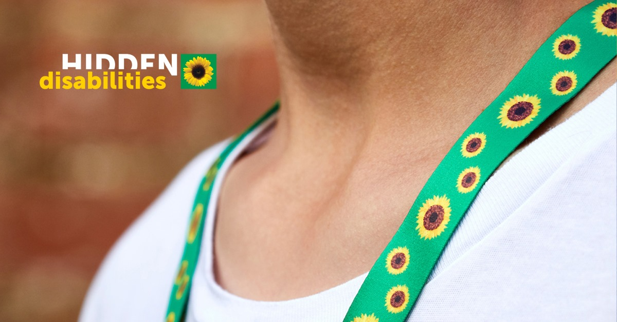 Image of person wearing the Sunflower lanyard