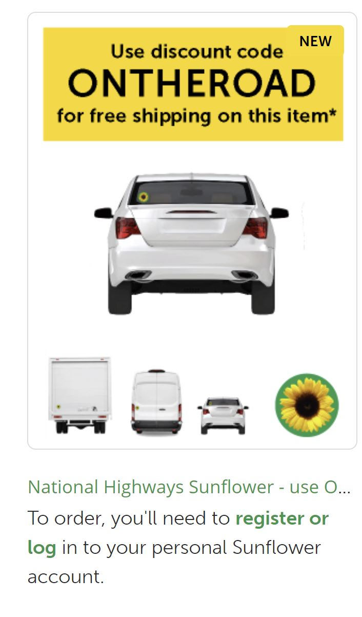 Image of back of white car with Sunflower sticker