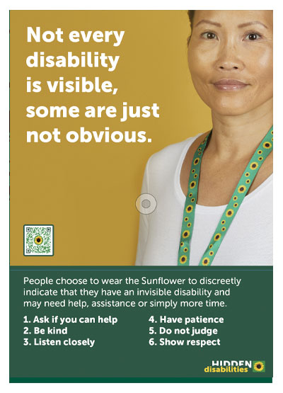 Sunflower poster with woman wearing a green lanyard with yellow sunflowers