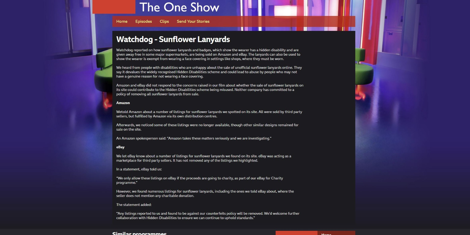 Screengrab of Watchdog BBC One Show article