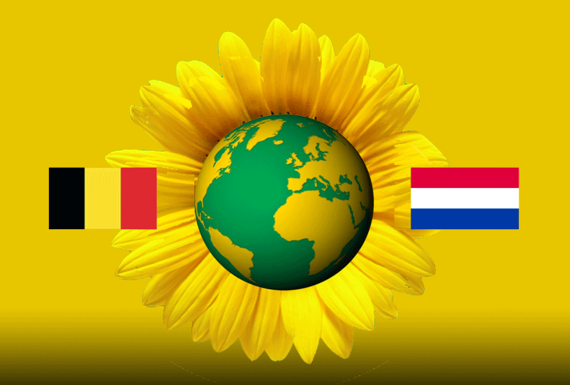 The Sunflower surrounding the world with the Dutch and Belgium flags either side