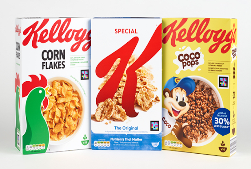 Three boxes of Kelloggs cereal - cornflakes, special K and coco pops