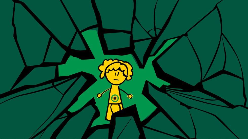 Afbeelding van een geel personage dat zich in een scheur bevindt